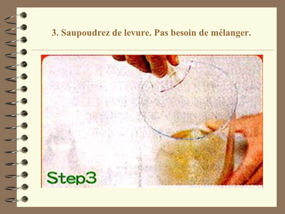 3. Saupoudrez de levure. Pas besoin de mélanger.