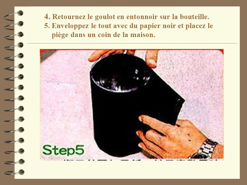 4. Retournez le goulot en entonnoir sur la bouteille. 5. Enveloppez le tout avec du papier noir et placez le piège dans un coin de la maison.