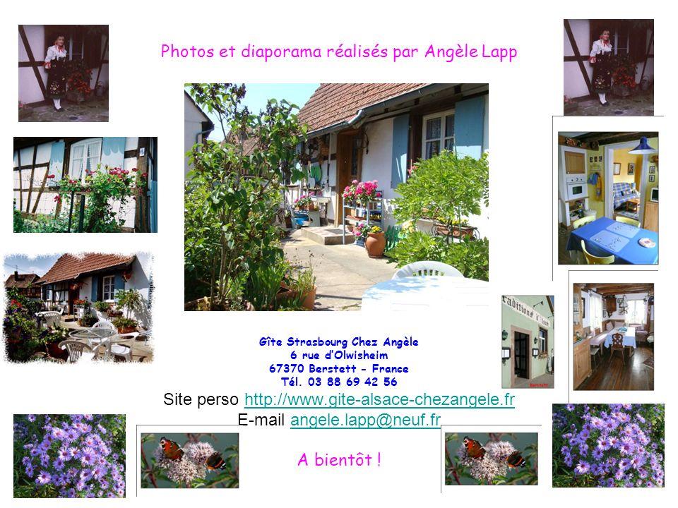 Photos et diaporama réalisés par Angèle Lapp Gîte Strasbourg Chez Angèle 6 rue dOlwisheim 67370 Berstett - France Tél. 03 88 69 42 56 Site perso http: