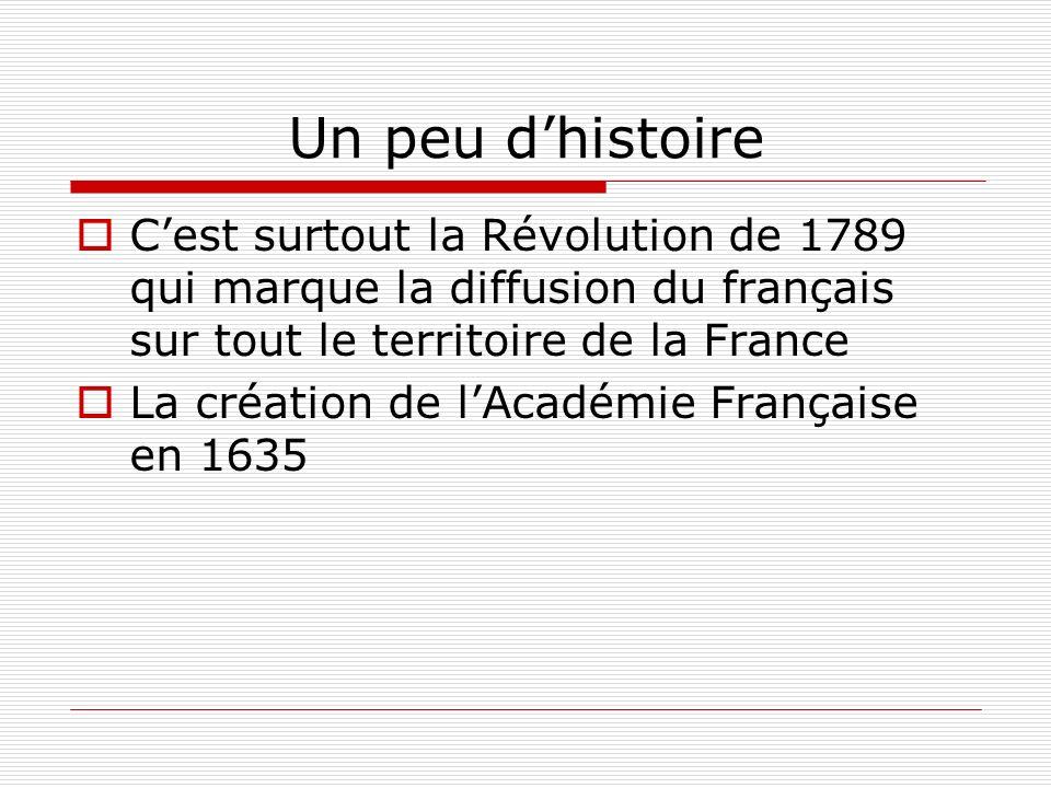 Un peu dhistoire Cest surtout la Révolution de 1789 qui marque la diffusion du français sur tout le territoire de la France La création de lAcadémie F