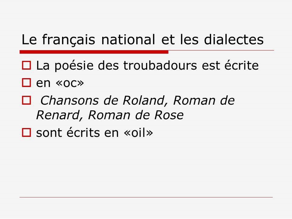 Le français national et les dialectes La poésie des troubadours est écrite en «oc» Chansons de Roland, Roman de Renard, Roman de Rose sont écrits en «