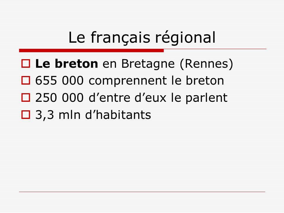 Le français régional Le breton en Bretagne (Rennes) 655 000 comprennent le breton 250 000 dentre deux le parlent 3,3 mln dhabitants