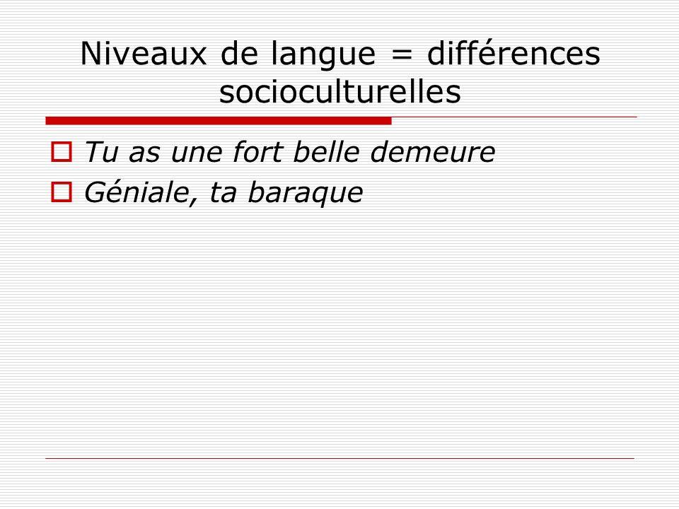 Niveaux de langue = différences socioculturelles Tu as une fort belle demeure Géniale, ta baraque