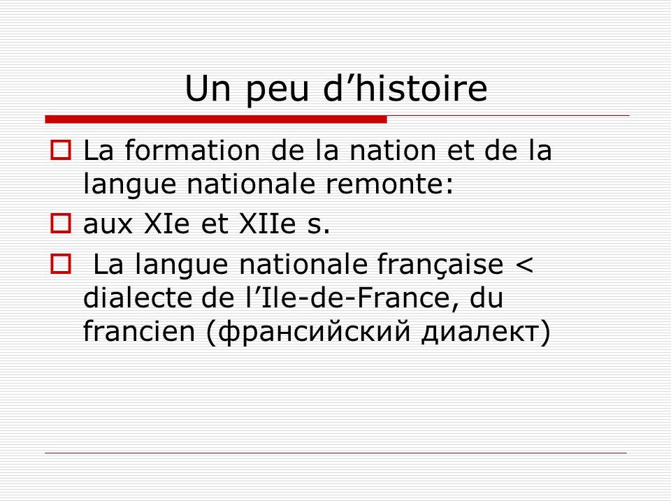 Un peu dhistoire La formation de la nation et de la langue nationale remonte: aux XIe et XIIe s. La langue nationale française < dialecte de lIle-de-F