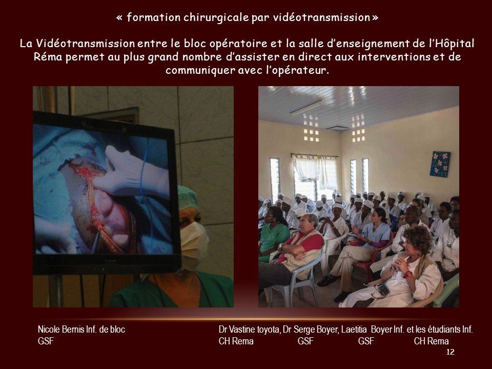 « formation chirurgicale par vidéotransmission » La Vidéotransmission entre le bloc opératoire et la salle denseignement de lHôpital Réma permet au pl