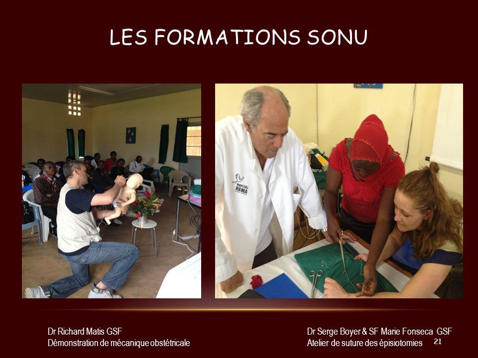 LES FORMATIONS SONU Dr Richard Matis GSF Démonstration de mécanique obstétricale Dr Serge Boyer & SF Marie Fonseca GSF Atelier de suture des épisiotom