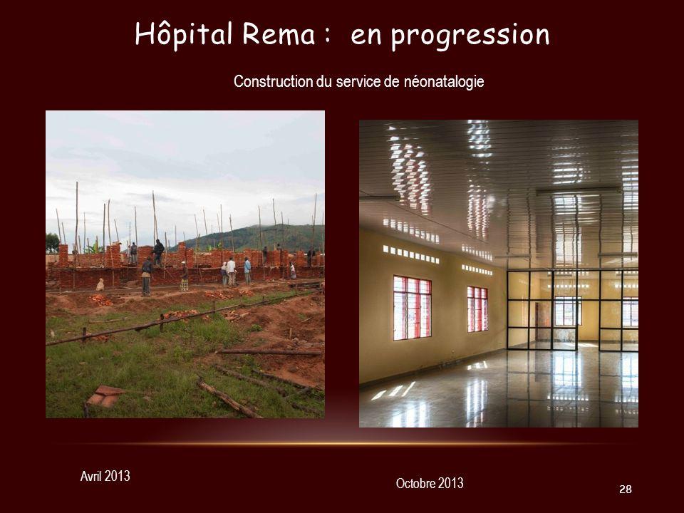 Hôpital Rema : en progression Avril 2013 Octobre 2013 Construction du service de néonatalogie 28