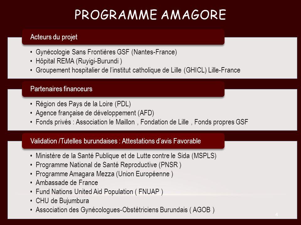 PROGRAMME AMAGORE Gynécologie Sans Frontières GSF (Nantes-France) Hôpital REMA (Ruyigi-Burundi ) Groupement hospitalier de linstitut catholique de Lil