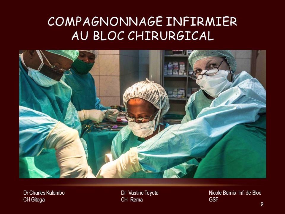 COMPAGNONNAGE INFIRMIER AU BLOC CHIRURGICAL Nicole Bernis Inf. de Bloc GSF Dr Vastine Toyota CH Rema Dr Charles Kalombo CH Gitega 9