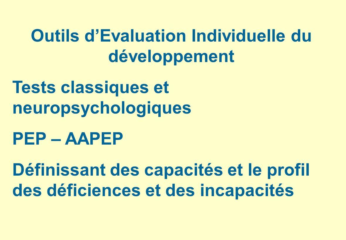 Outils dEvaluation Individuelle du développement Tests classiques et neuropsychologiques PEP – AAPEP Définissant des capacités et le profil des défici