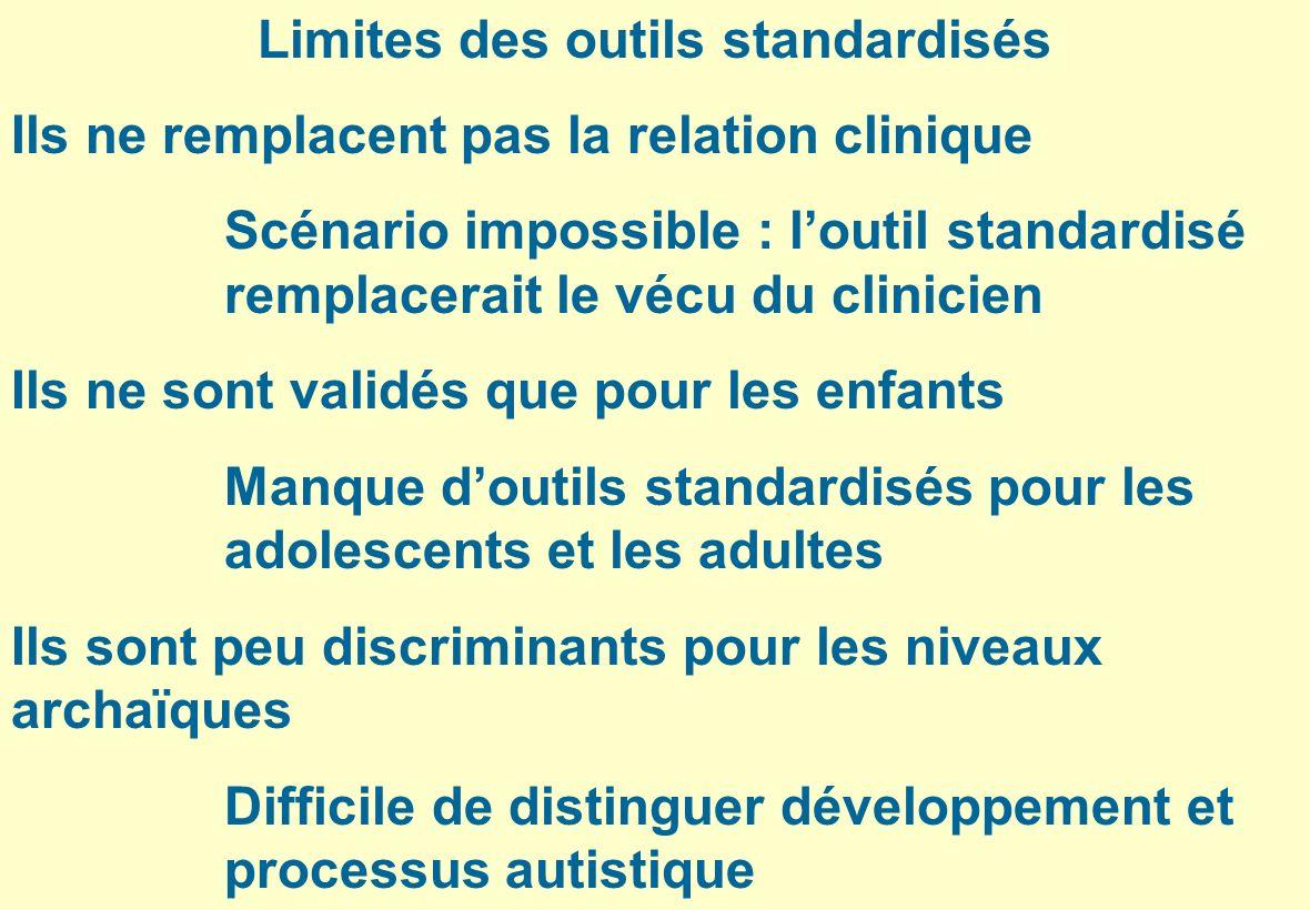 Limites des outils standardisés Ils ne remplacent pas la relation clinique Scénario impossible : loutil standardisé remplacerait le vécu du clinicien