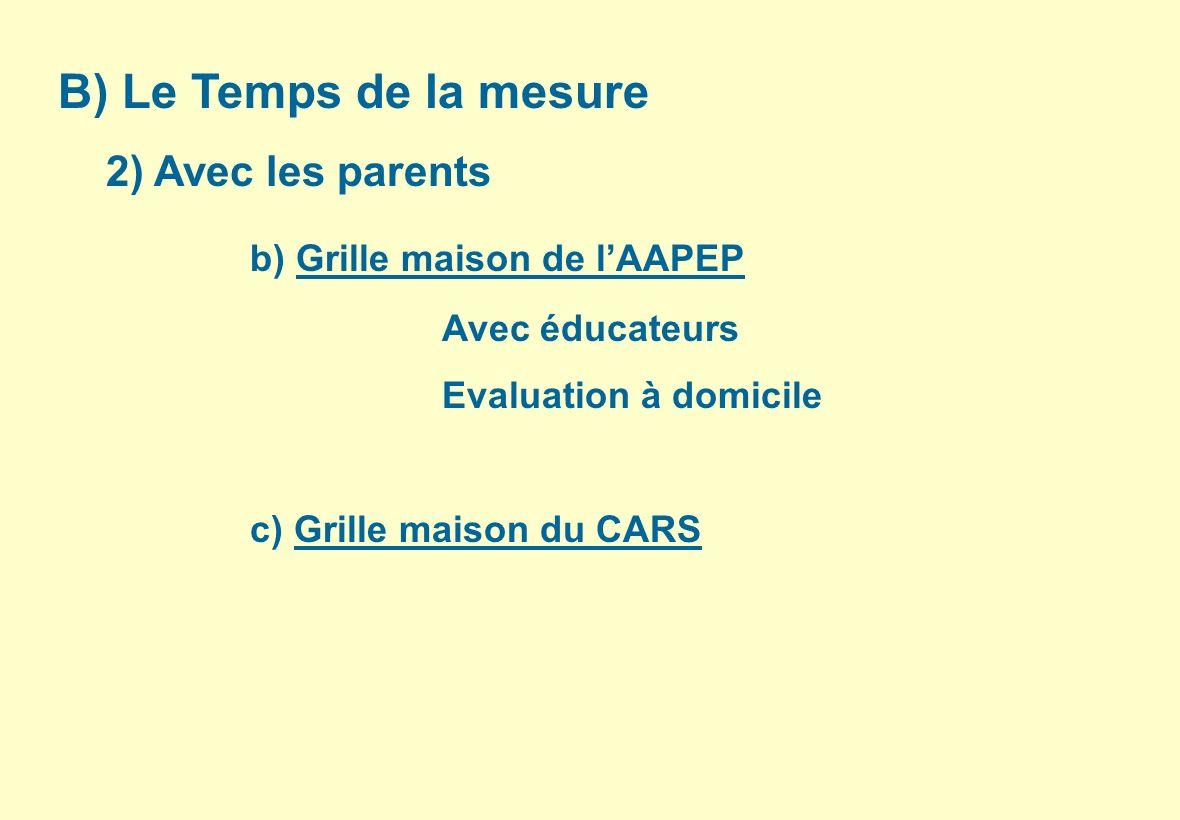 B) Le Temps de la mesure 2) Avec les parents b) Grille maison de lAAPEP Avec éducateurs Evaluation à domicile c) Grille maison du CARS