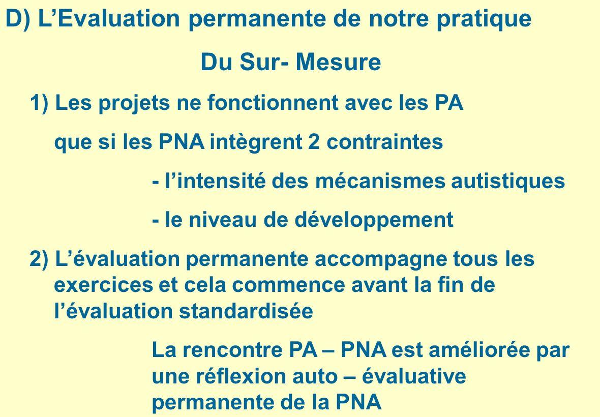 D) LEvaluation permanente de notre pratique Du Sur- Mesure 1) Les projets ne fonctionnent avec les PA que si les PNA intègrent 2 contraintes - lintens
