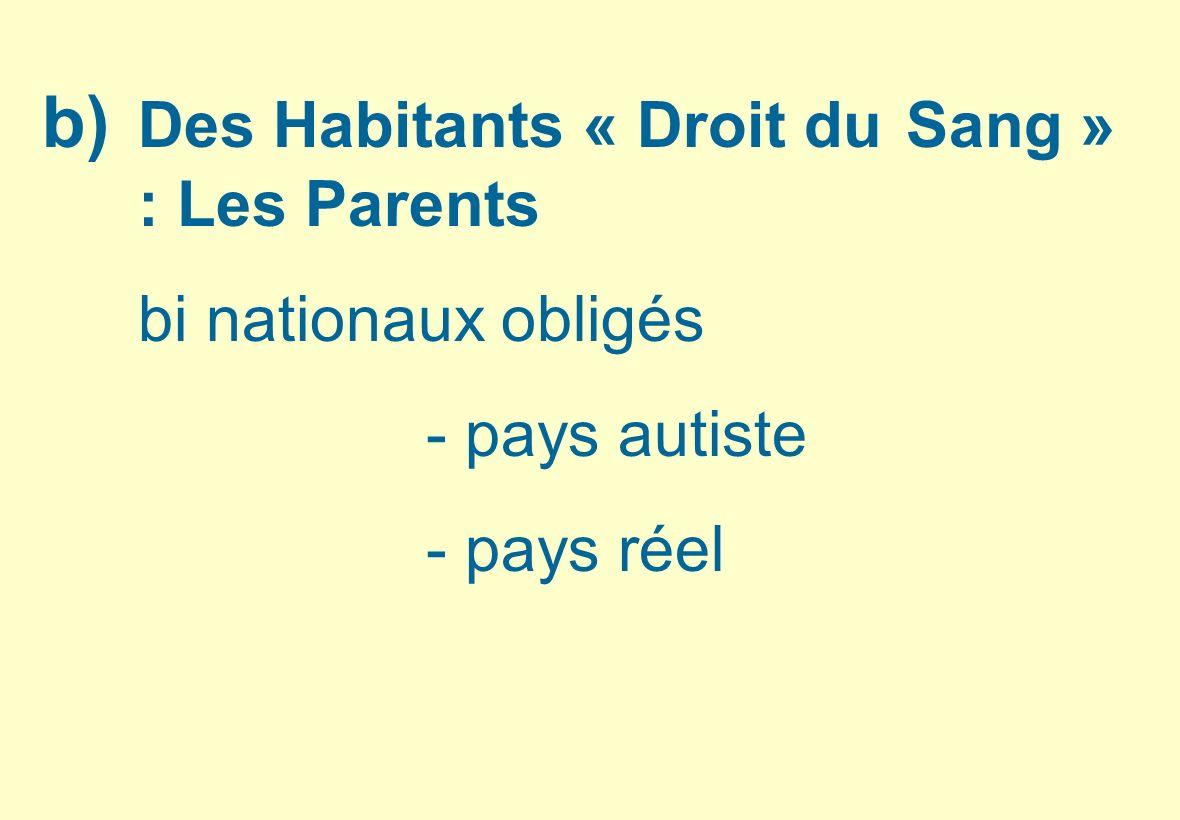 b) Des Habitants « Droit du Sang » : Les Parents bi nationaux obligés - pays autiste - pays réel