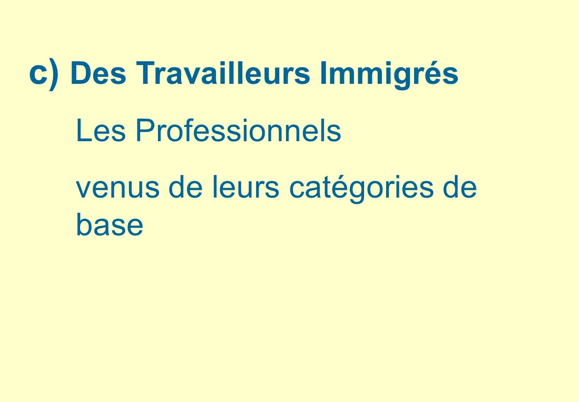 c) Des Travailleurs Immigrés Les Professionnels venus de leurs catégories de base