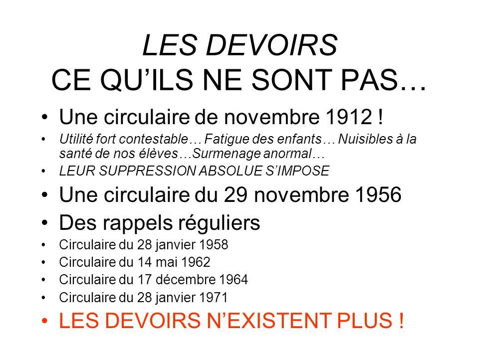 LES DEVOIRS CE QUILS NE SONT PAS… Une circulaire de novembre 1912 .