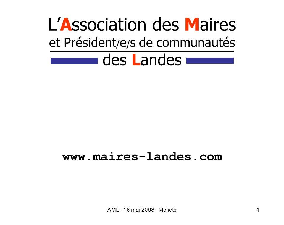 AML - 16 mai 2008 - Moliets2 LAssociation des Maires et Président/e/s de communautés des Landes Son adresse postale Association des Maires des Landes Maison des Communes 175 place de la caserne Bosquet B.P.