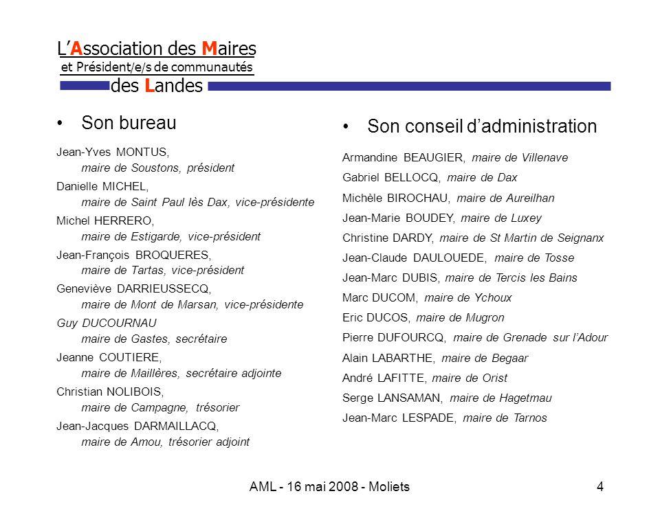 AML - 16 mai 2008 - Moliets5 LAssociation des Maires et Président / e / s de communautés des Landes Un relais de lAssociation des Maires de France LAssociation des Maires des Landes est rattachée à lAssociation des Maires de France dont elle prélève les cotisations.