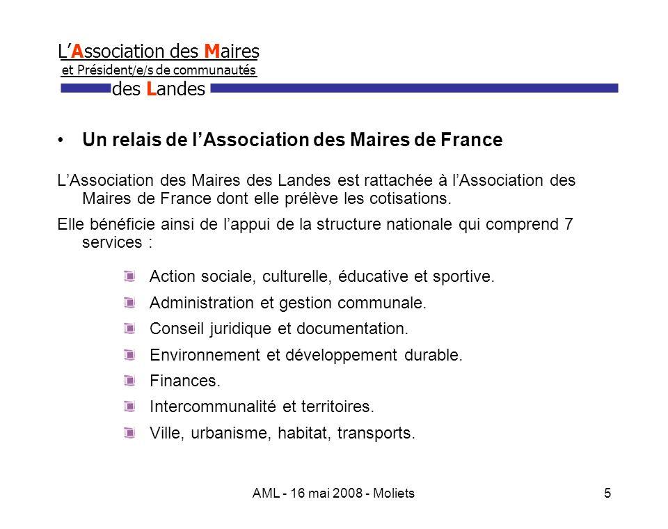 AML - 16 mai 2008 - Moliets6 LAssociation des Maires et Président / e / s de communautés des Landes Son action 1.des réunions dinformation.