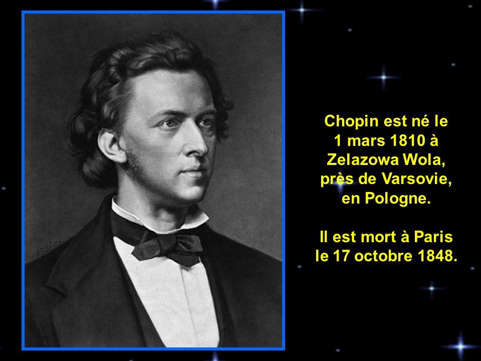 Selon les derniers vœux de Chopin, le Requiem de Mozart fût chanté à ses funérailles, lesquelles furent tenues à léglise de La Madeleine où il y eu une assistance denviron 3,000 personnes.