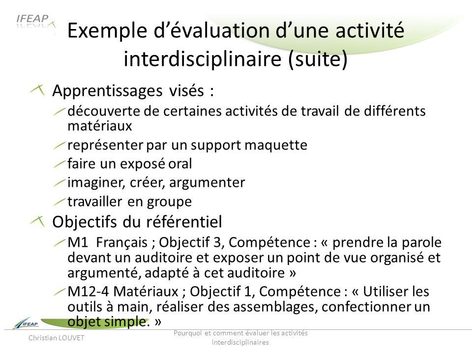Exemple dévaluation dune activité interdisciplinaire (suite) Apprentissages visés : découverte de certaines activités de travail de différents matéria