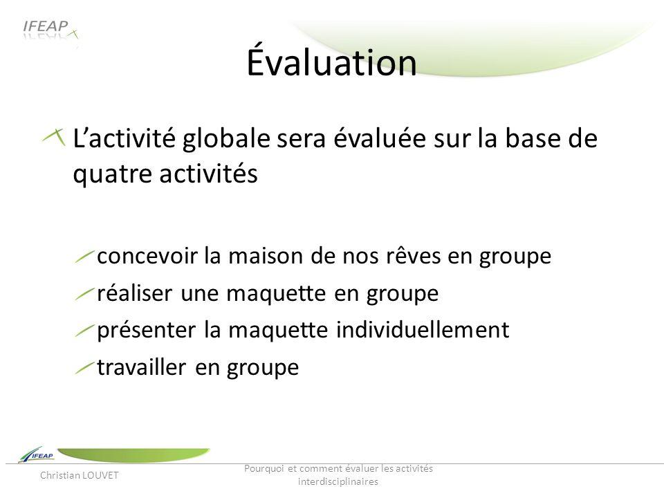 Évaluation Lactivité globale sera évaluée sur la base de quatre activités concevoir la maison de nos rêves en groupe réaliser une maquette en groupe p