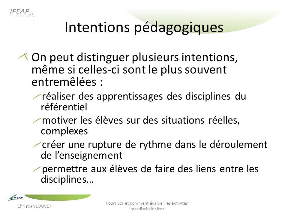 Intentions pédagogiques On peut distinguer plusieurs intentions, même si celles-ci sont le plus souvent entremêlées : réaliser des apprentissages des