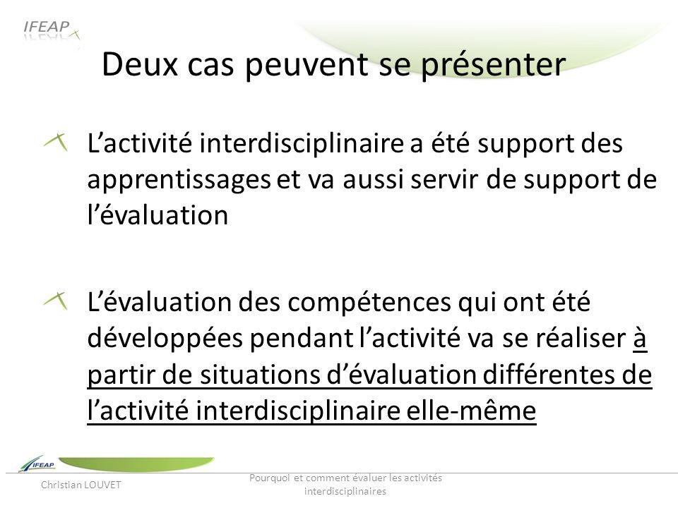 Deux cas peuvent se présenter Lactivité interdisciplinaire a été support des apprentissages et va aussi servir de support de lévaluation Lévaluation d