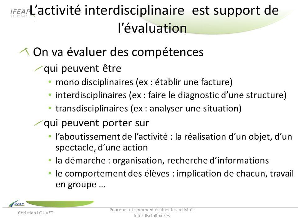 Lactivité interdisciplinaire est support de lévaluation On va évaluer des compétences qui peuvent être mono disciplinaires (ex : établir une facture)
