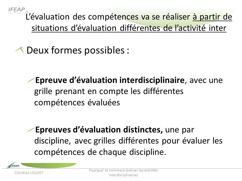 Lévaluation des compétences va se réaliser à partir de situations dévaluation différentes de lactivité inter Deux formes possibles : Epreuve dévaluati