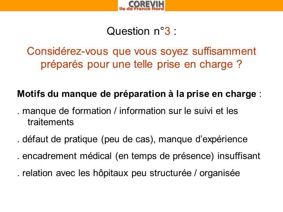 Question n°3 : Considérez-vous que vous soyez suffisamment préparés pour une telle prise en charge .