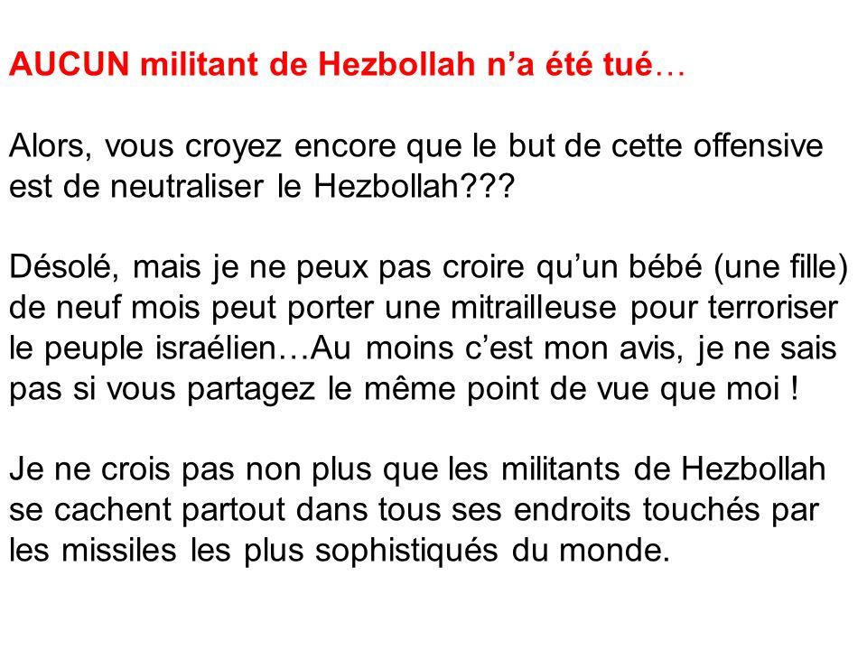 AUCUN militant de Hezbollah na été tué… Alors, vous croyez encore que le but de cette offensive est de neutraliser le Hezbollah??? Désolé, mais je ne