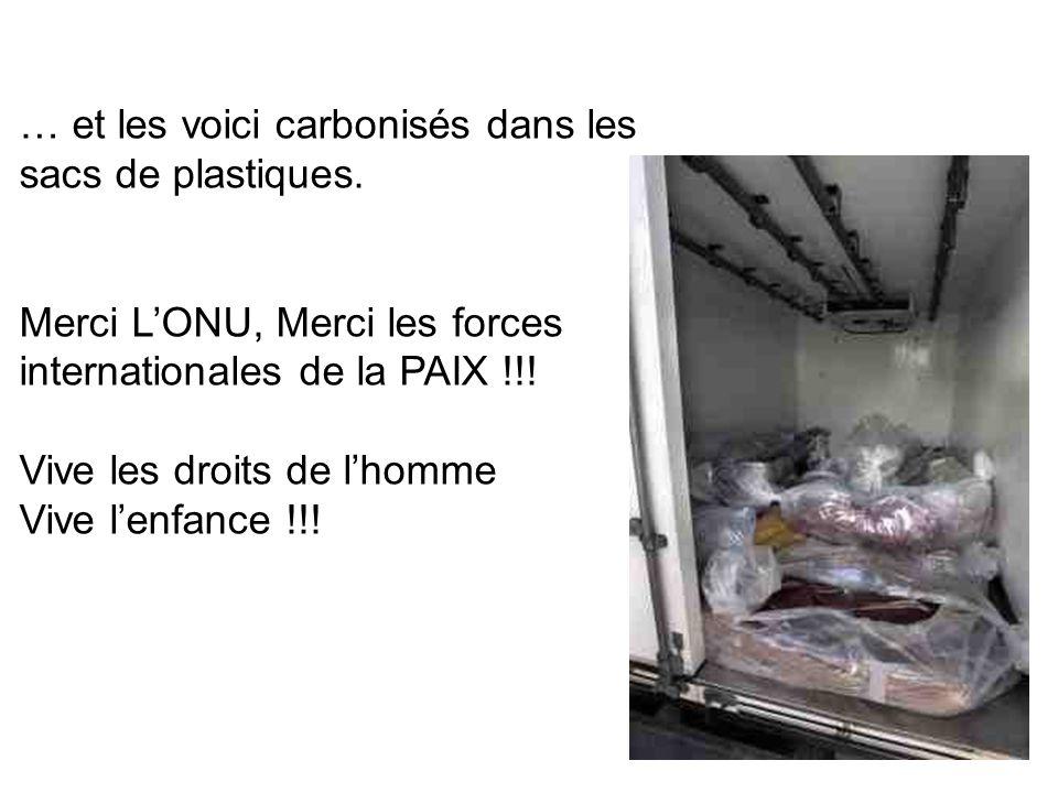 … et les voici carbonisés dans les sacs de plastiques. Merci LONU, Merci les forces internationales de la PAIX !!! Vive les droits de lhomme Vive lenf
