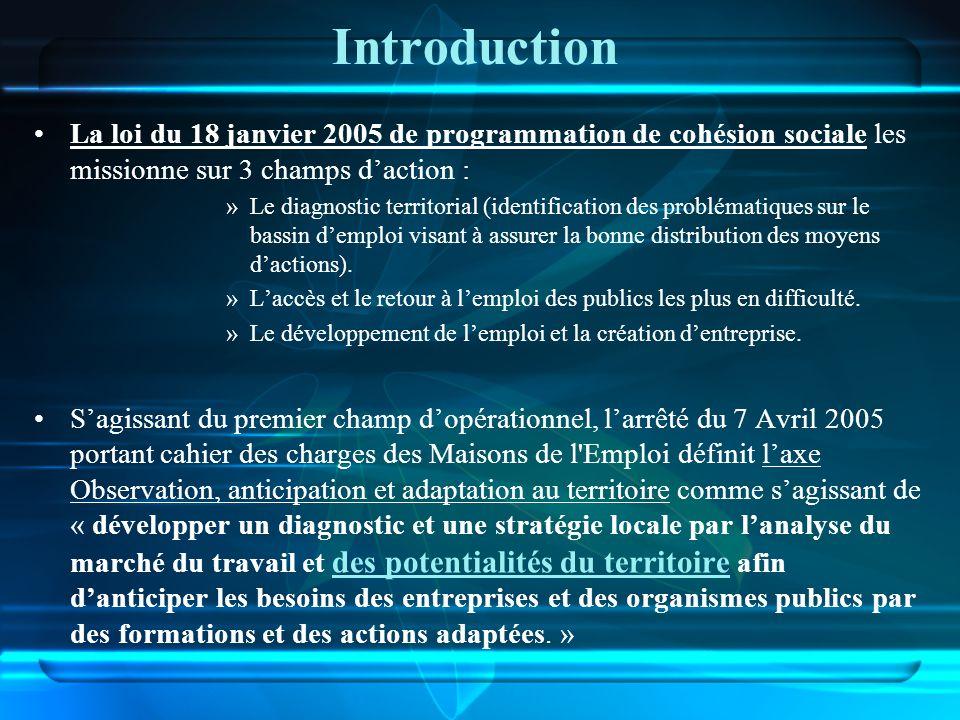 Introduction La loi du 18 janvier 2005 de programmation de cohésion sociale les missionne sur 3 champs daction : »Le diagnostic territorial (identific