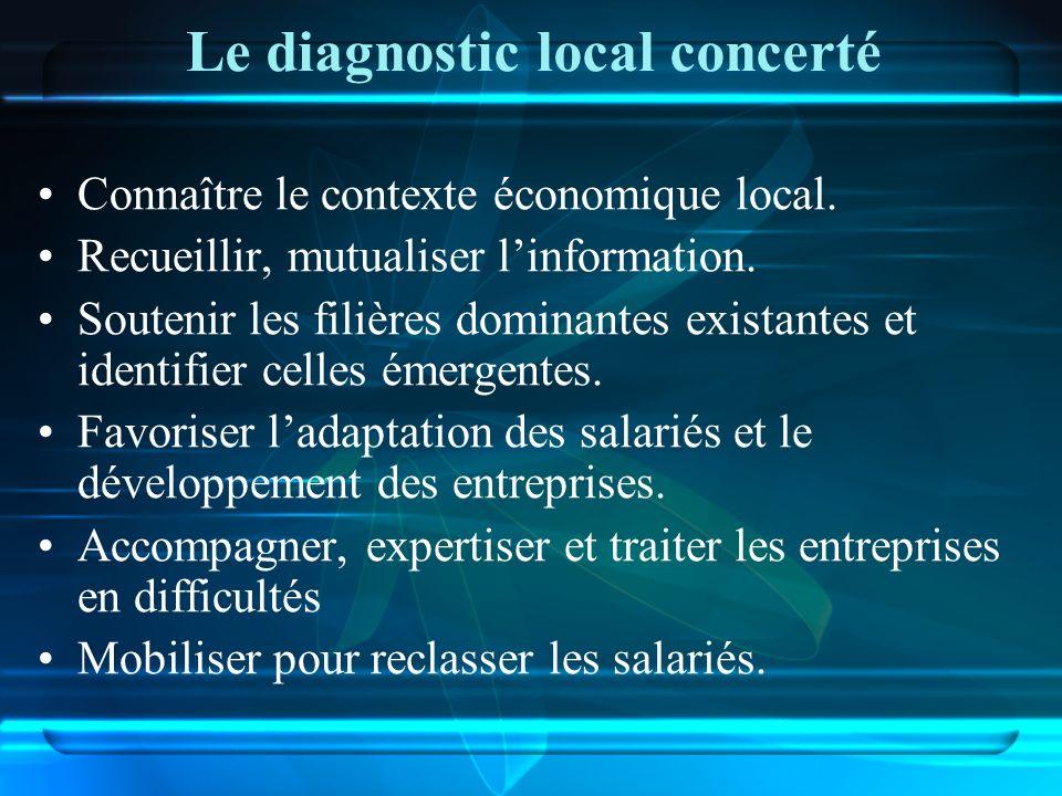 Le diagnostic local concerté Connaître le contexte économique local. Recueillir, mutualiser linformation. Soutenir les filières dominantes existantes
