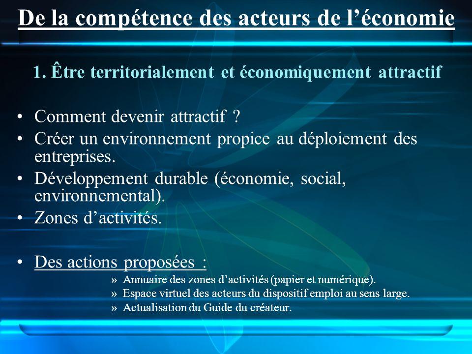 1. Être territorialement et économiquement attractif Comment devenir attractif ? Créer un environnement propice au déploiement des entreprises. Dévelo