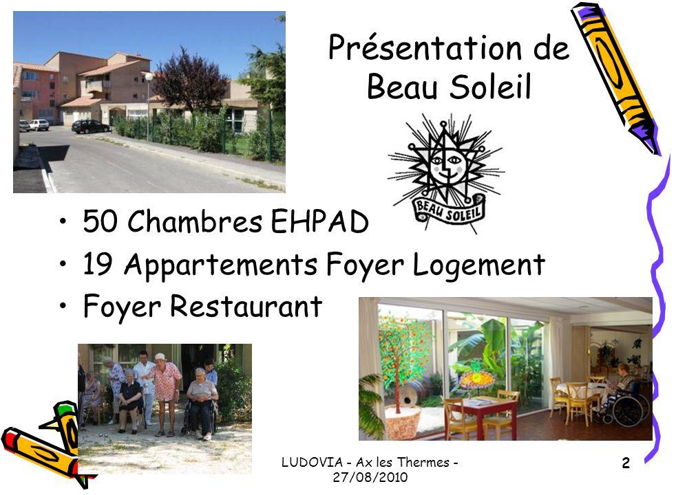 LUDOVIA - Ax les Thermes - 27/08/2010 2 Présentation de Beau Soleil 50 Chambres EHPAD 19 Appartements Foyer Logement Foyer Restaurant