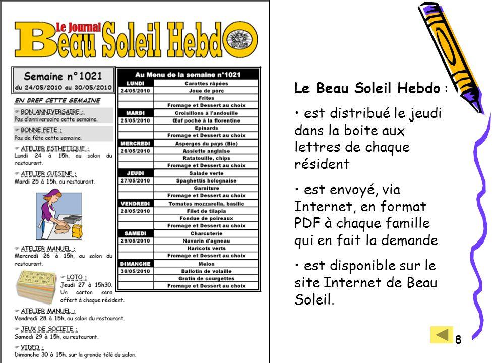 LUDOVIA - Ax les Thermes - 27/08/2010 8 Le Beau Soleil Hebdo : est distribué le jeudi dans la boite aux lettres de chaque résident est envoyé, via Internet, en format PDF à chaque famille qui en fait la demande est disponible sur le site Internet de Beau Soleil.
