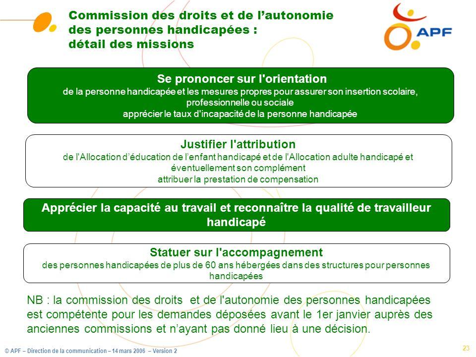 © APF – Direction de la communication – 14 mars 2006 – Version 2 23 Commission des droits et de lautonomie des personnes handicapées : détail des miss
