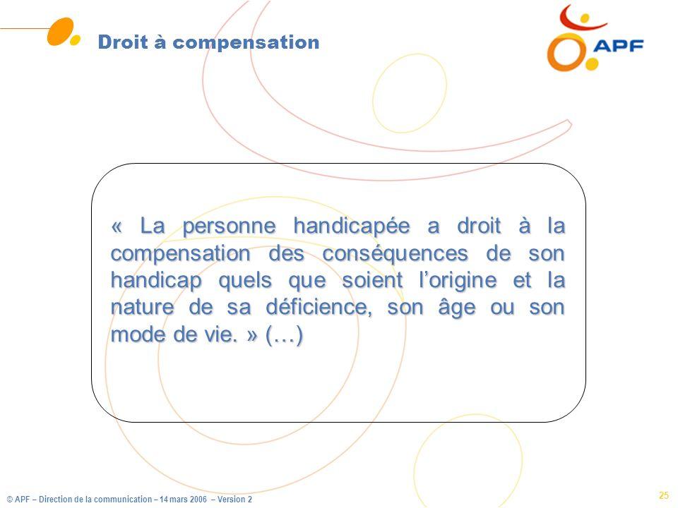 © APF – Direction de la communication – 14 mars 2006 – Version 2 25 Droit à compensation « La personne handicapée a droit à la compensation des conséq