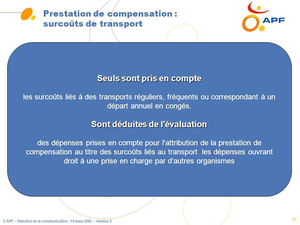 © APF – Direction de la communication – 14 mars 2006 – Version 2 39 Prestation de compensation : surcoûts de transport Seuls sont pris en compte les s