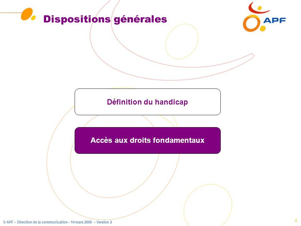 © APF – Direction de la communication – 14 mars 2006 – Version 2 5 Compensation et ressources Ressources Compensation