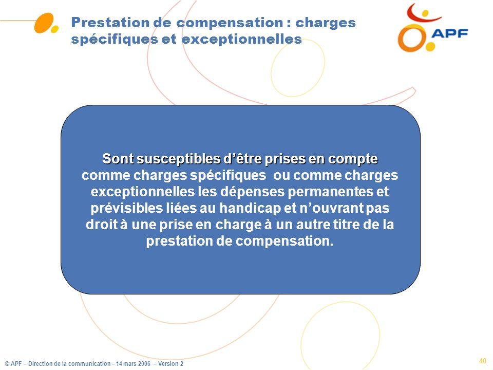 © APF – Direction de la communication – 14 mars 2006 – Version 2 40 Prestation de compensation : charges spécifiques et exceptionnelles Sont susceptib