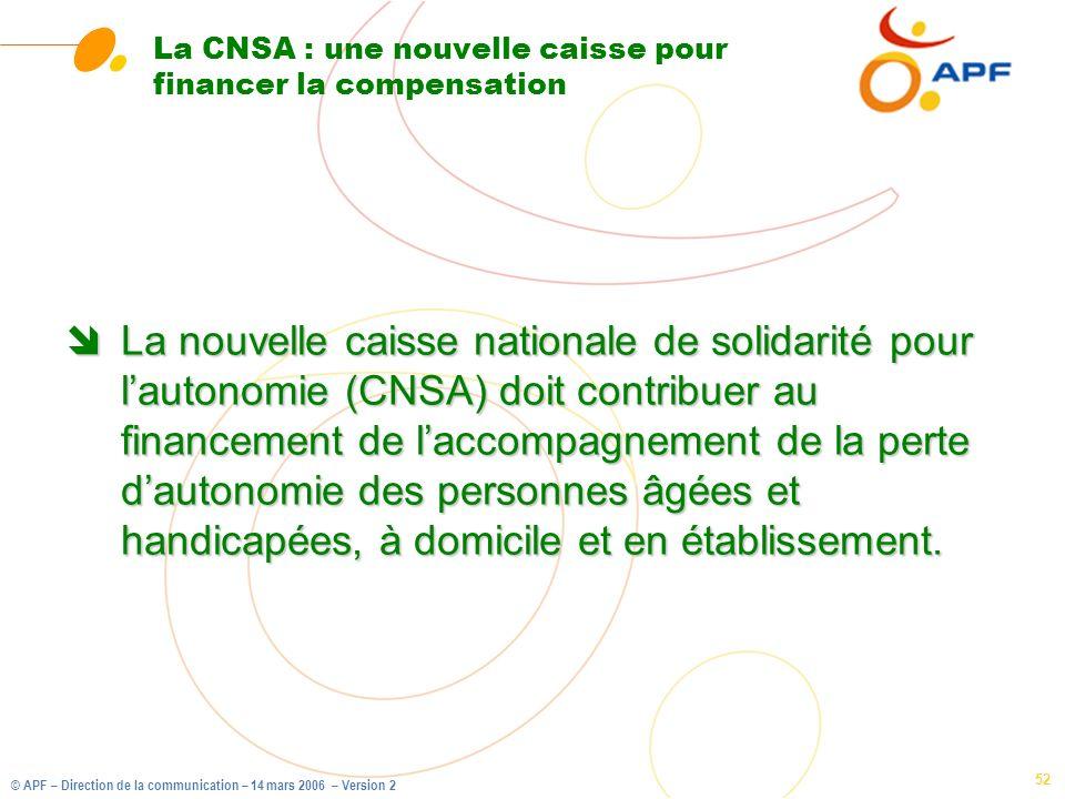 © APF – Direction de la communication – 14 mars 2006 – Version 2 52 La CNSA : une nouvelle caisse pour financer la compensation îLa nouvelle caisse na