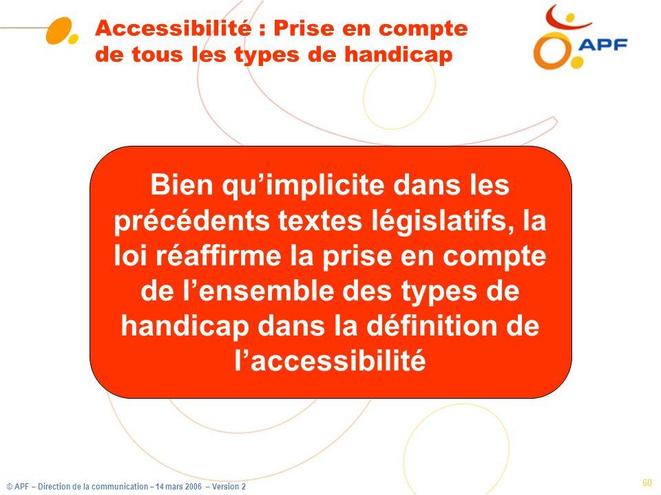 © APF – Direction de la communication – 14 mars 2006 – Version 2 60 Accessibilité : Prise en compte de tous les types de handicap Bien quimplicite dan