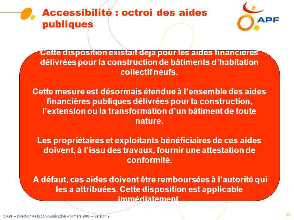 © APF – Direction de la communication – 14 mars 2006 – Version 2 62 Accessibilité : octroi des aides publiques Cette disposition existait déjà pour le