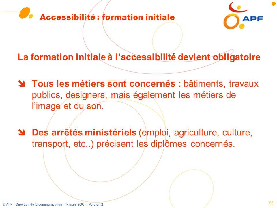 © APF – Direction de la communication – 14 mars 2006 – Version 2 68 Accessibilité : formation initiale La formation initiale à laccessibilité devient