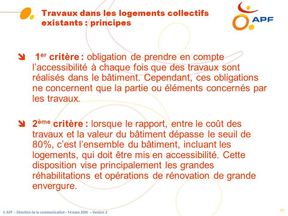 © APF – Direction de la communication – 14 mars 2006 – Version 2 71 Travaux dans les logements collectifs existants : principes î 1 er critère : oblig