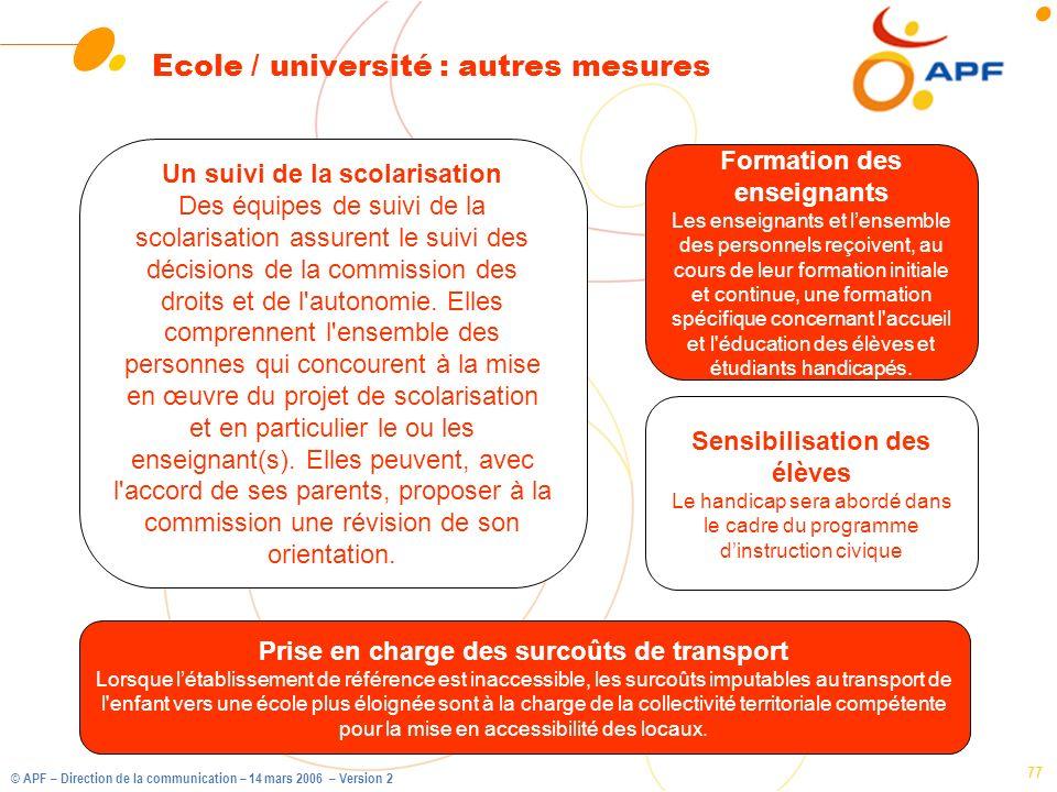 © APF – Direction de la communication – 14 mars 2006 – Version 2 77 Ecole / université : autres mesures Formation des enseignants Les enseignants et l