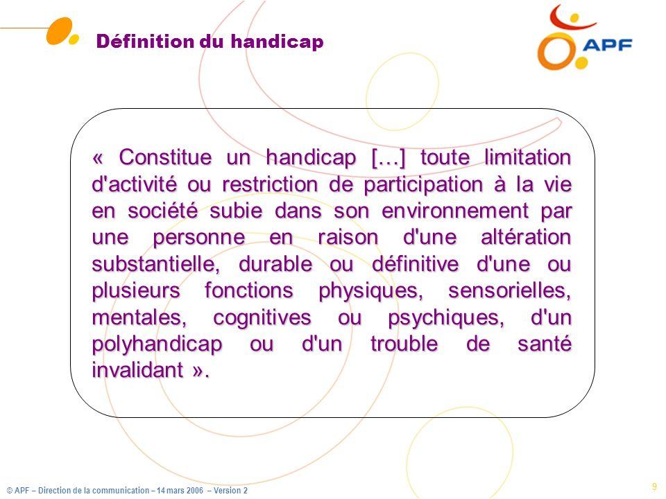 © APF – Direction de la communication – 14 mars 2006 – Version 2 9 Définition du handicap « Constitue un handicap […] toute limitation d'activité ou r